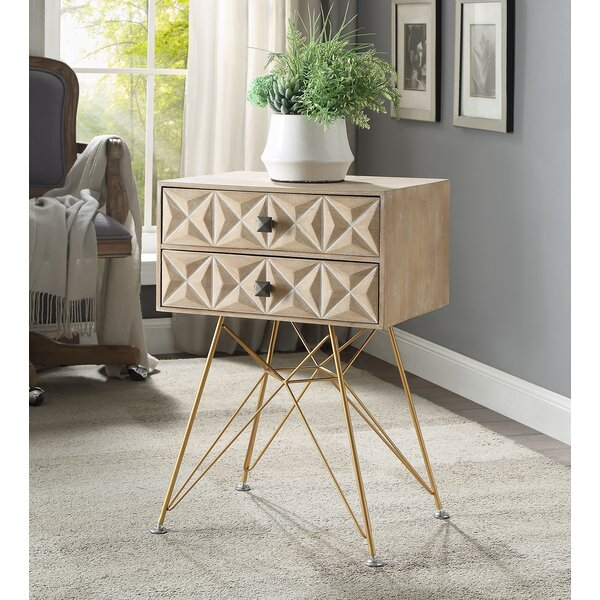 Bandit Two Drawer Accent Table by Bungalow Rose