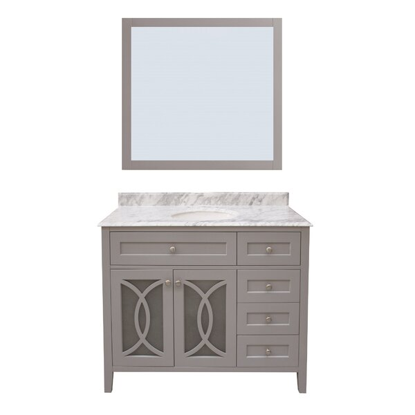 Margaret Garden 42 Single Bathroom Vanity with Mirror by NGY Stone & Cabinet