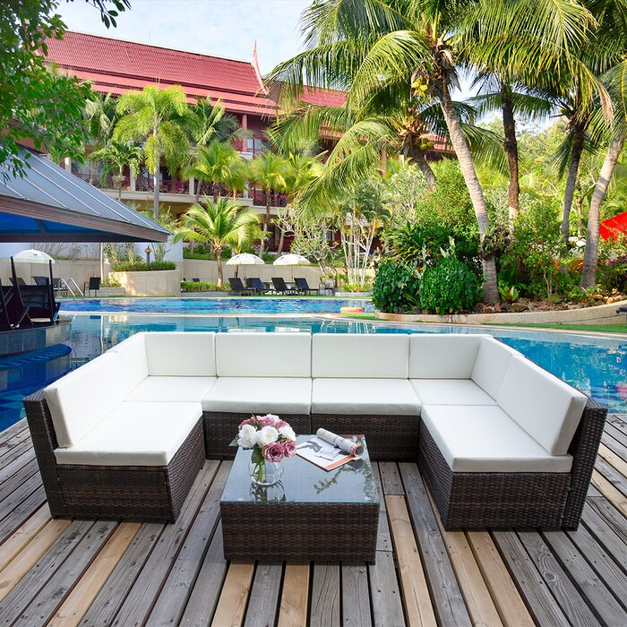 7 Piece Rattan Sofa Set With Cushions