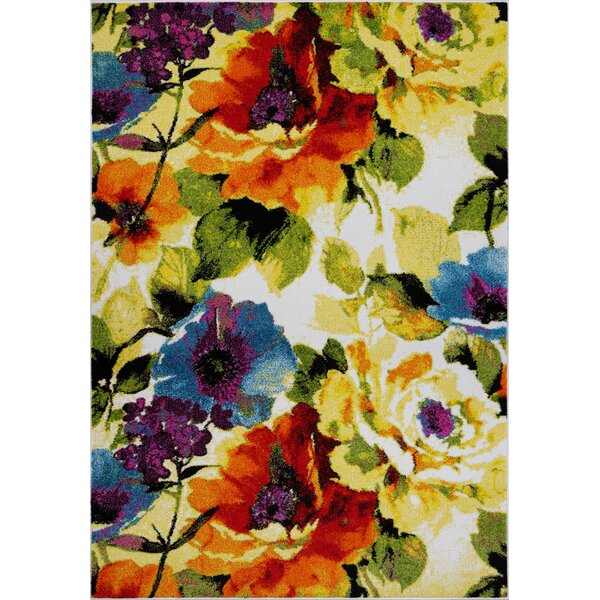 Osterman Floral Yellow/Green Area Rug by Winston Porter
