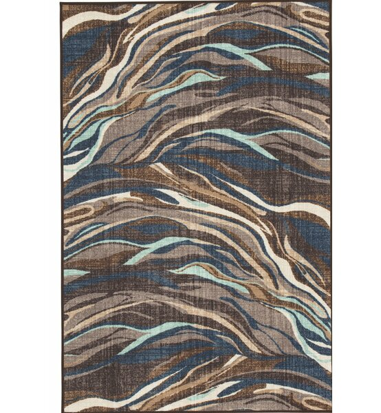 Grise Power Loom Blue/Brown Area Rug by Wrought Studio