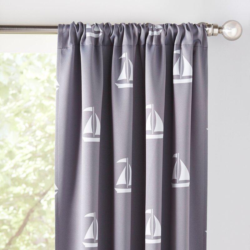 Sailboat Nautical Blackout Thermal Rod Pocket Curtain Panels