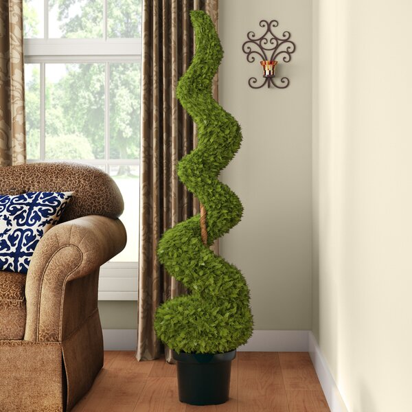 Cedar Spiral Tree with Ball in Green Pot by Astoria Grand