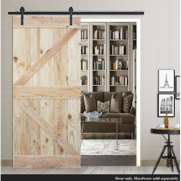 Two Side K Design Solid Wood Paneled Pine Slab Interior Barn Door by Calhome