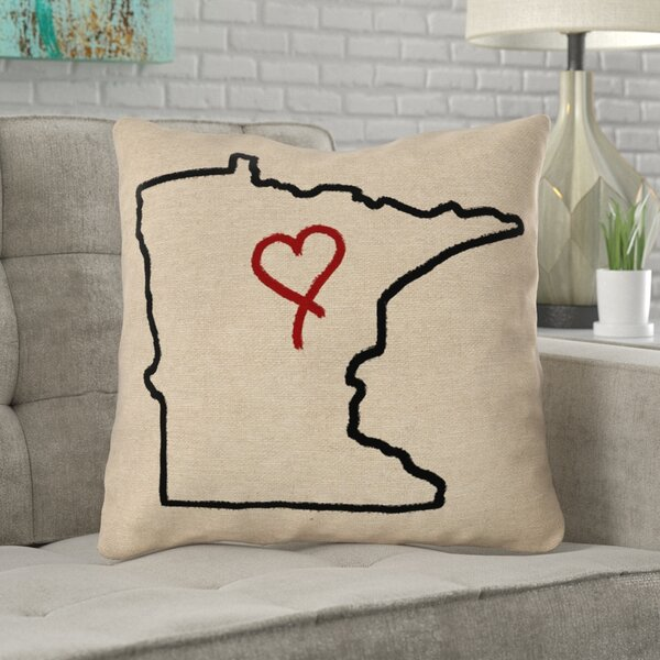 Austrinus Minnesota Love Outline Outdoor Throw Pillow by Ivy Bronx