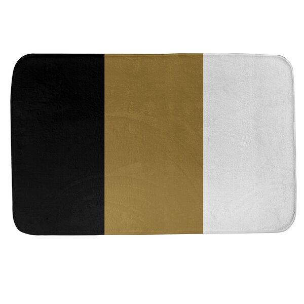 Wake Salem Stripes Rectangle Foam Microfiber Non-Slip Bath Rug