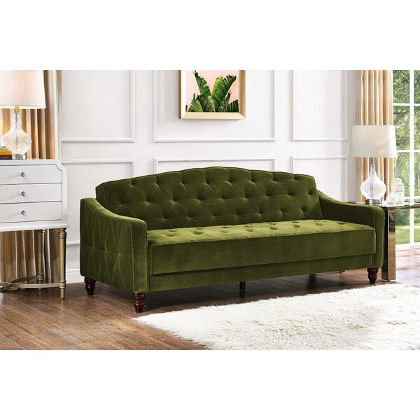 #2 Vintage Tufted Convertible Sofa By Novogratz Find