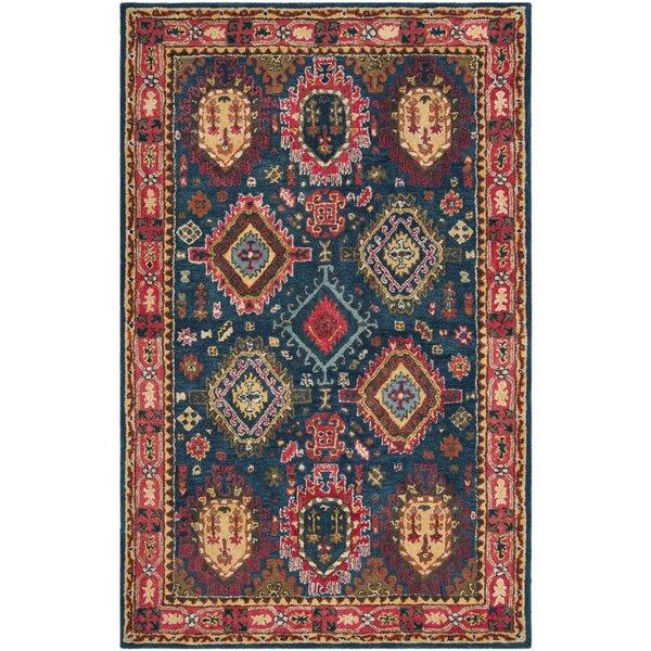 Iraheta Hand-Tufted Wool Navy/Red Area Rug by Bloomsbury Market