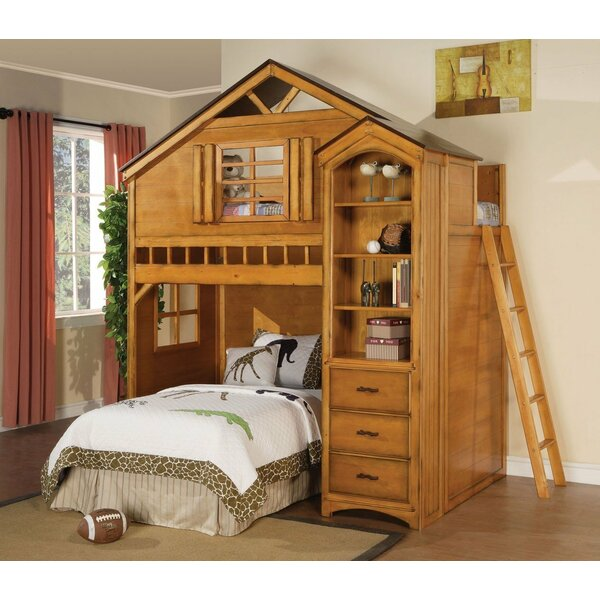 Mila Twin over Twin Loft Bed with Drawers and Bookcase by Zoomie Kids