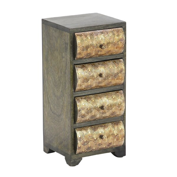 Cincinnatus Rustic Curved Rectangular Paneled 4-Drawer Free Standing Jewelry Armoire by Bloomsbury Market