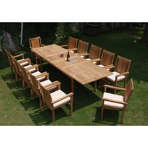 Mallorca Luxurious 13 Piece Teak Dining Set by Rosecliff Heights
