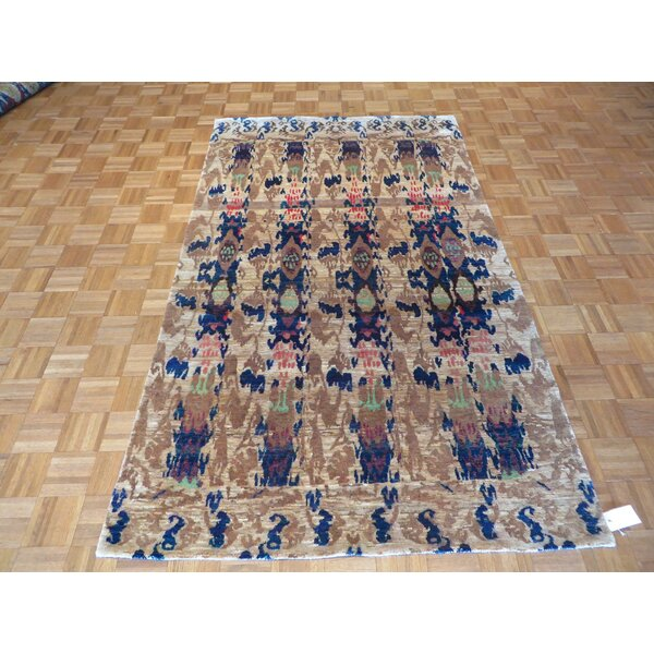 One-of-a-Kind Paez Ikat Hand-Knotted Blue/Beige Area Rug by Bloomsbury Market