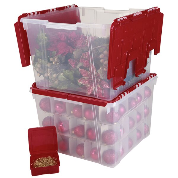 Holiday Wing Lid Organizer Set With Ornament Dividers By Iris Usa Inc.