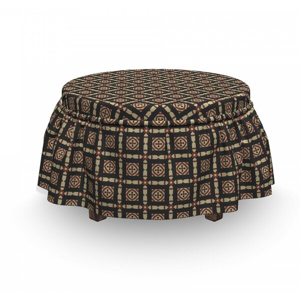 Abstract Retro And Geometrical 2 Piece Box Cushion Ottoman Slipcover Set By East Urban Home