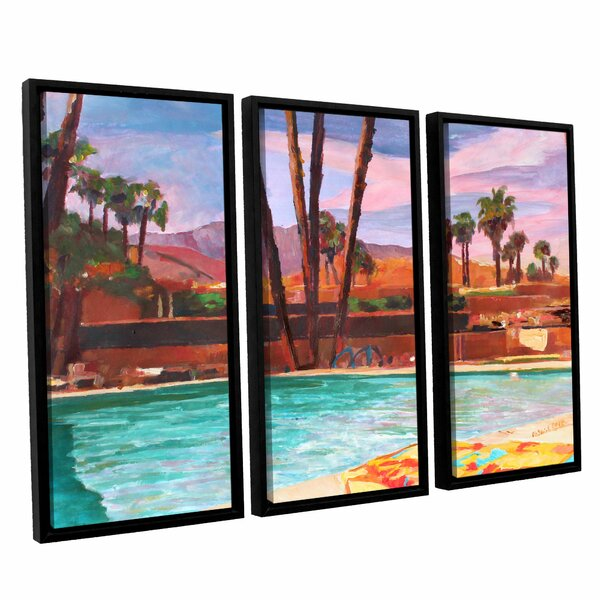 The Palm Springs Pool by Marcus/Martina Bleichner 3 Piece Framed Painting Print Set by ArtWall