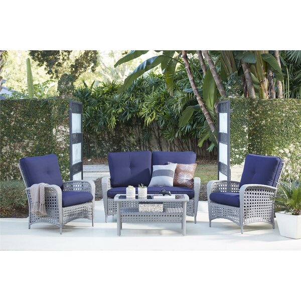 Edwards 4 Piece Rattan Sofa Seating Group with Cushions by Highland Dunes