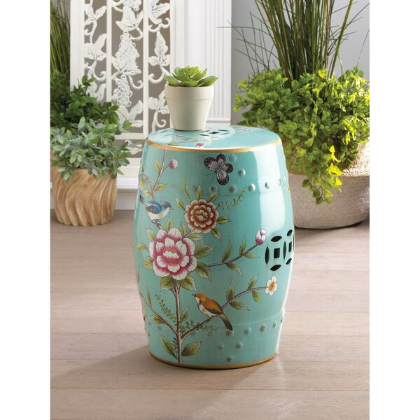 Colorful Floral Garden Stool by Bloomsbury Market Bloomsbury Market
