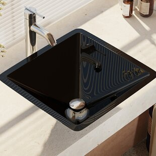 Read Reviews Glass Square Vessel Bathroom Sink with Faucet ByRené By Elkay