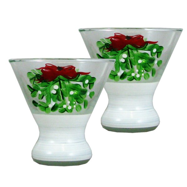 Drouin Mistletoe Cosmos 7 oz. Glass Every Day Glass (Set of 2) by The Holiday Aisle