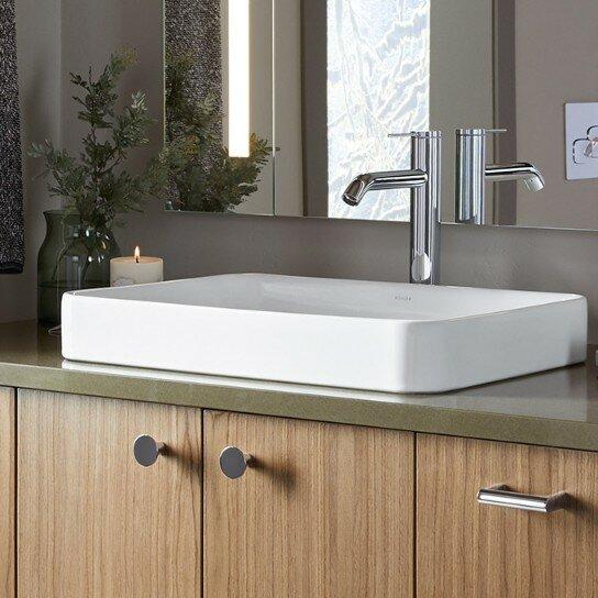 Vox Vitreous China Rectangular Vessel Bathroom Sink with Overflow by Kohler