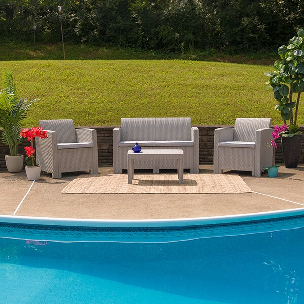 Throwback 4 Piece Rattan Sofa Seating Group with Cushion by Latitude Run