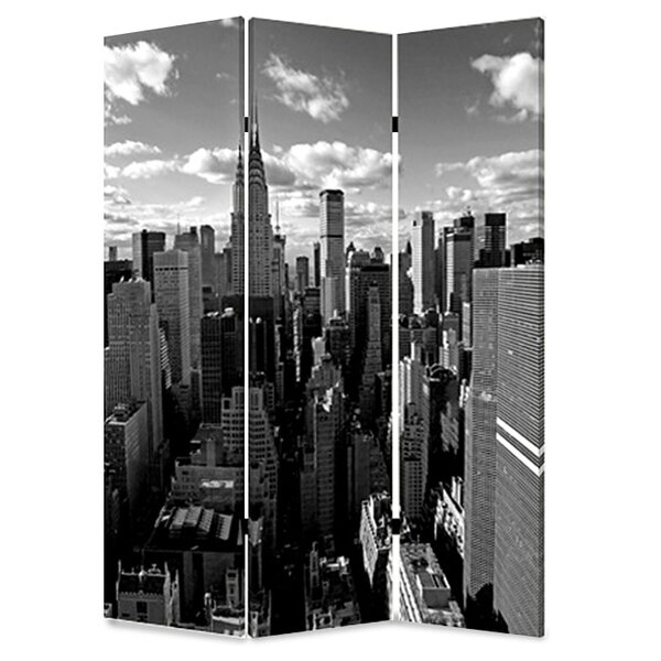 New York Skyline 3 Panel Room Divider by Screen Gems