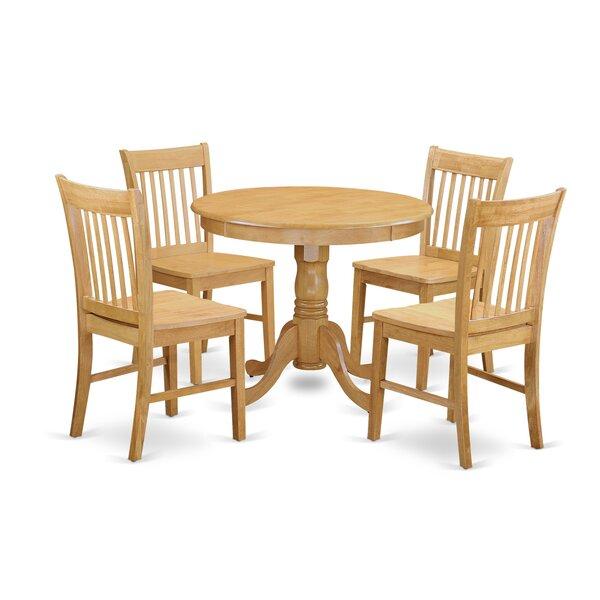 Stalham 5 Piece Breakfast Nook Solid Wood Dining Set
