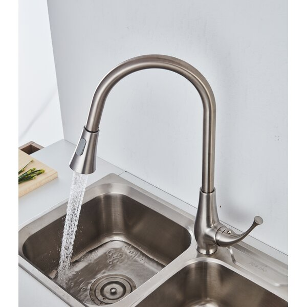 Pull Out Single Handle Kitchen Faucet with Swiveling Spout and Dual Function Spray Head