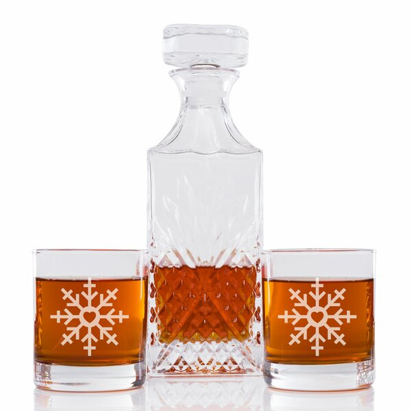 Snowflake Vintage Cut 3 Piece Beverage Serving Set by The Holiday Aisle