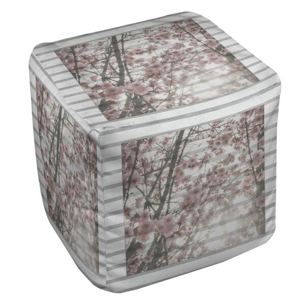 Cherry Blossom Stripes Pouf by Manual Woodworkers & Weavers