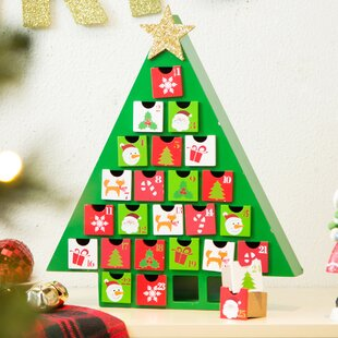 Wooden Tree Count Down Calendar With Drawer