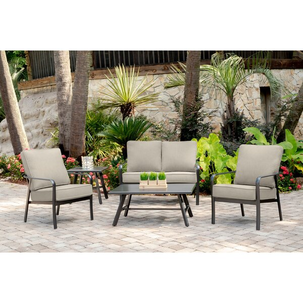 Colson 5-Piece Commercial-Grade Patio Seating Set with 2 Cushioned Club Chairs Loveseat and Slat-Top Coffee and Side Table by Gracie Oaks