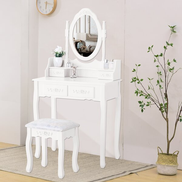Hanlon Makeup Vanity Set with Mirror by House of Hampton