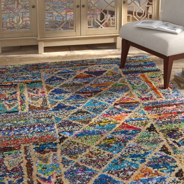 Mueller Hand Tufted Cotton Blue/Pink/Yellow Geometric Area Rug by Bloomsbury Market
