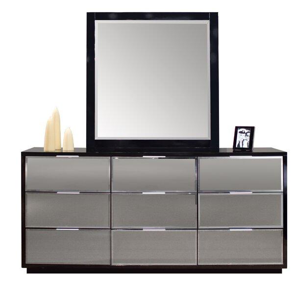 Elkville 9 Drawer Double Dresser With Mirror By Orren Ellis