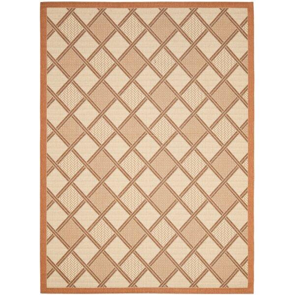 Short Cream / Terracotta Indoor/Outdoor Tile Rug by Winston Porter