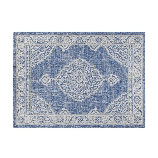Bridges Navy/Gray Indoor/Outdoor Area Rug by Bungalow Rose
