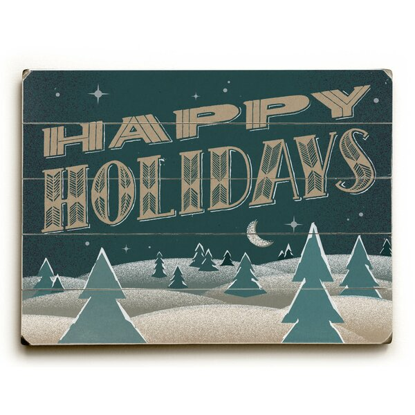 Happy Holidays Nighttime Graphic Art Plaque by The Holiday Aisle