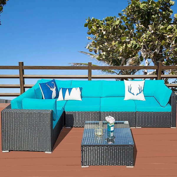 Sungu Outdoor 6 Piece Rattan Sectional Seating Group with Cushions by Latitude Run