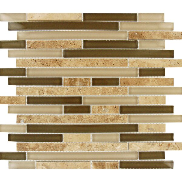 Tuscany Walnut Random Sized Glass and Natural Stone Mosaic Tile in Beige by MSI