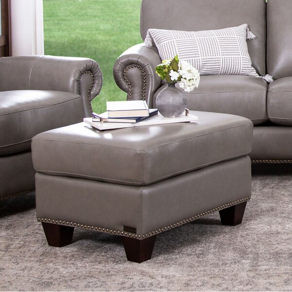 Whipton Leather Ottoman by Three Posts