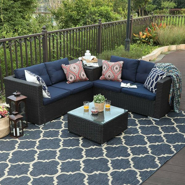 Stickler Patio Outdoor 4 Piece Rattan Sectional Seating Group with Cushions by Wrought Studio