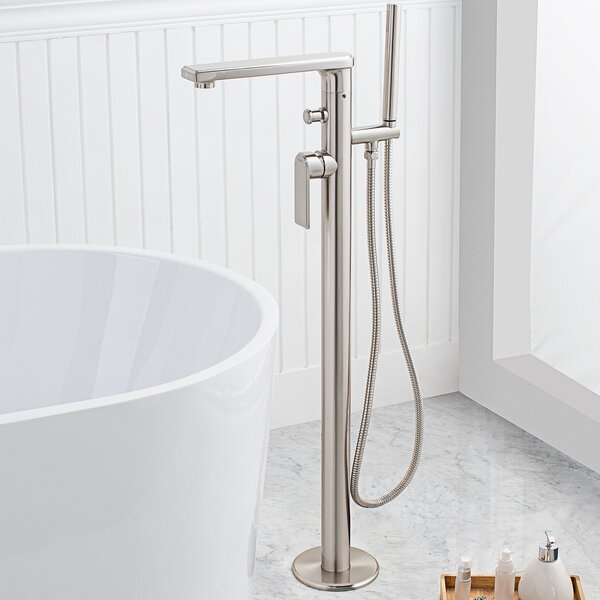 Arminius Single Handle Floor Mounted Freestanding Tub Filler with Hand Shower by Maykke