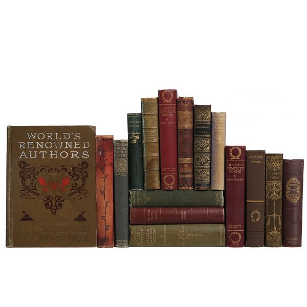 Authentic Decorative Books - Custom Set Antique Earthtone Poetry, Set of 16 by Booth & Williams