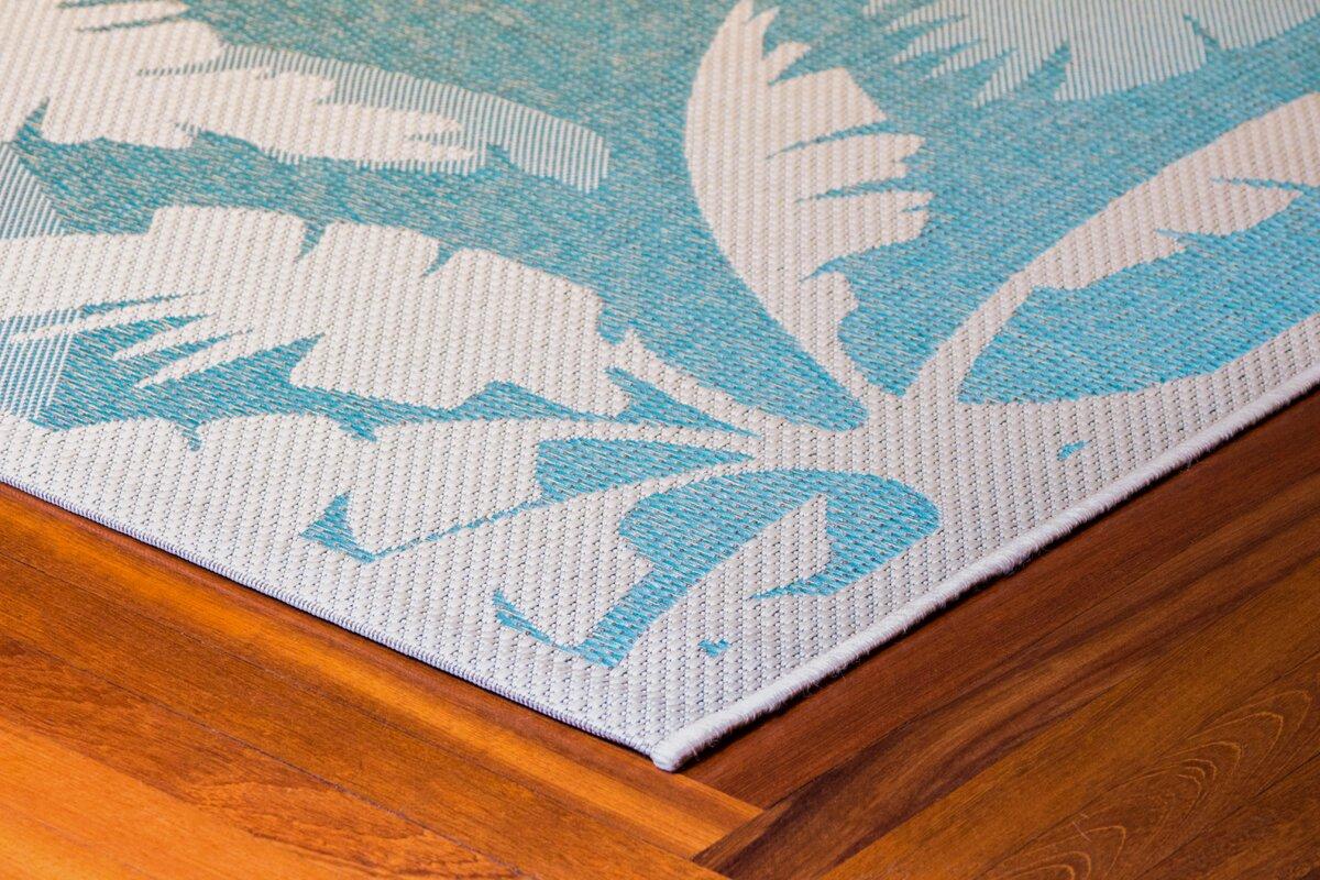 Beachcrest Home Odilia Coastal Flora Ivory Turquoise