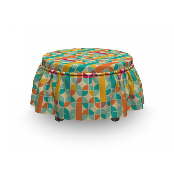 Retro Funky Mosaic Forms 2 Piece Box Cushion Ottoman Slipcover Set By East Urban Home