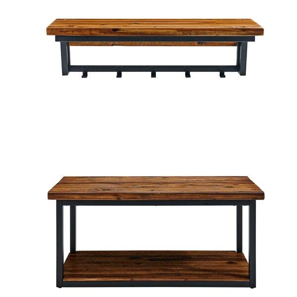 Vanna Wood Shelves Storage Bench with Coat Hook Shelf