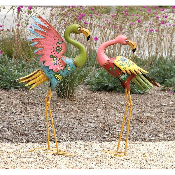 2 Piece Metal Flamingo Statue Set by Cole & Grey
