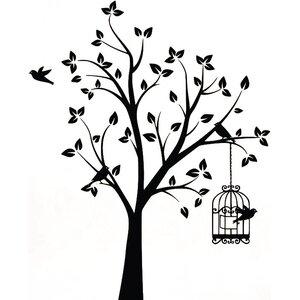 Shabby Elegance Bird Tree and Cage Wall Sticker