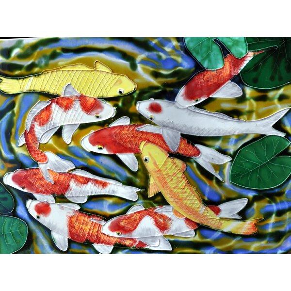 Koi Pond Wall Art Tile Wall Decor by Continental Art Center